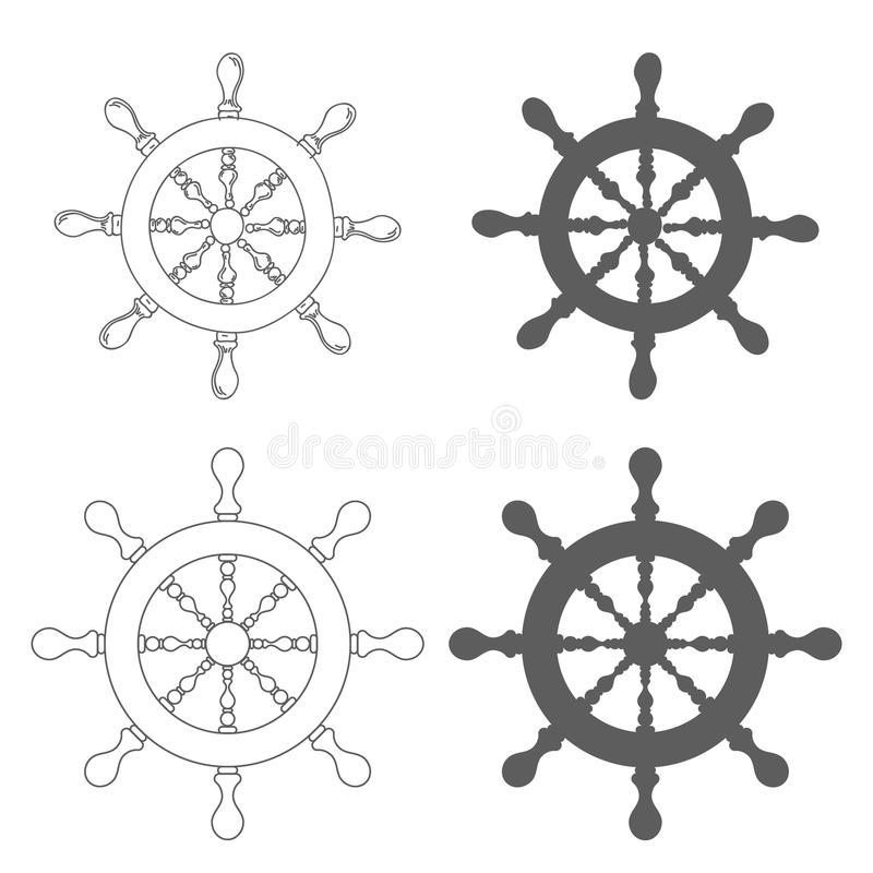 Set of Vintage marine steering wheel Vector. Illustration royalty free illustration