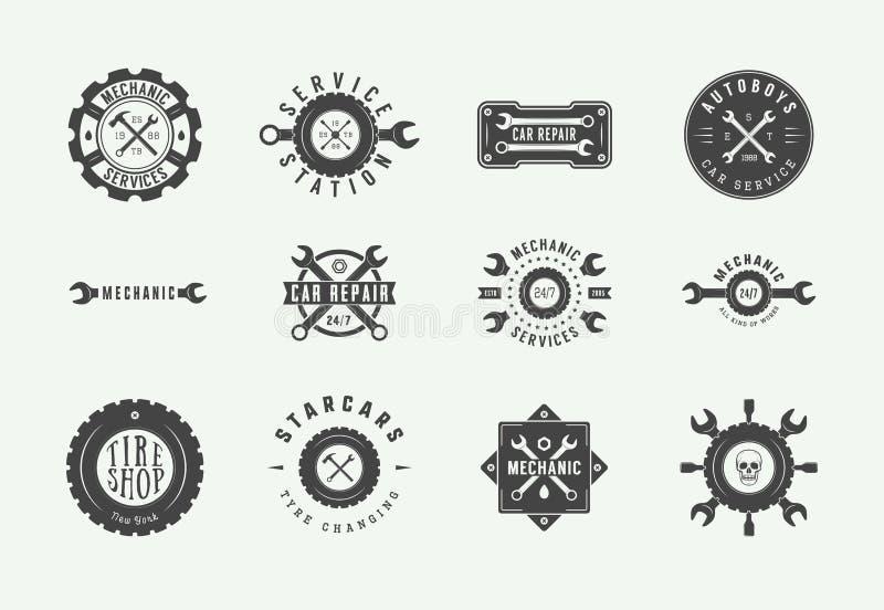 Set of vintage mechanic label, emblem, badge and logo. Vector illustration. Graphic Art royalty free illustration