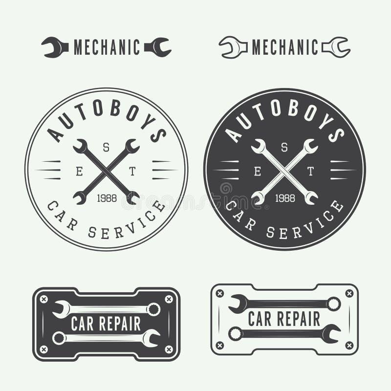 Set of vintage mechanic labels, emblems and logo. Vector illustration royalty free illustration