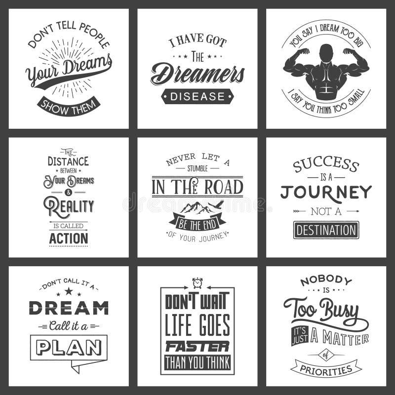 Set of vintage motivation typographic quotes. Vintage typography set, vintage typography design, vintage typography art, vintage typography label, vintage vector illustration