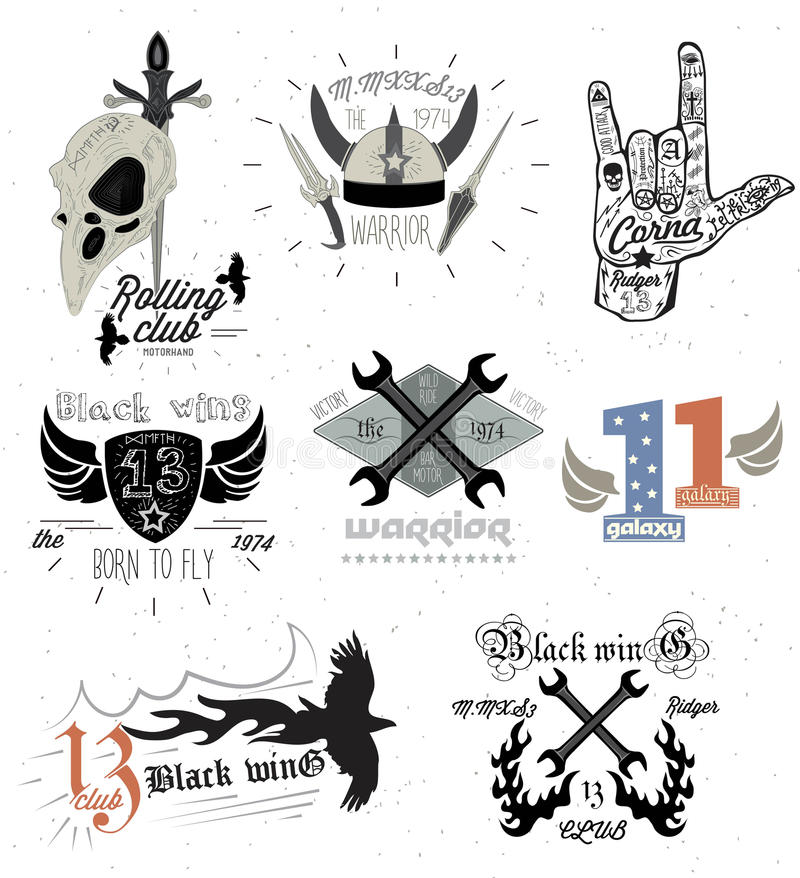 Set of vintage motorcycle badges and design elements stock illustration