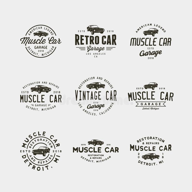 Set of vintage muscle car garage logos. vector illustration vector illustration