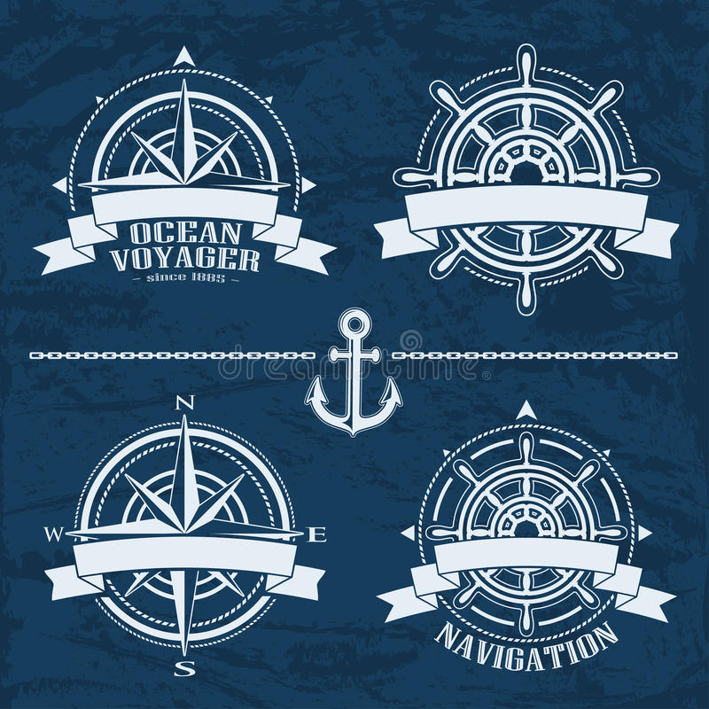 Set of vintage nautical design elements vector illustration