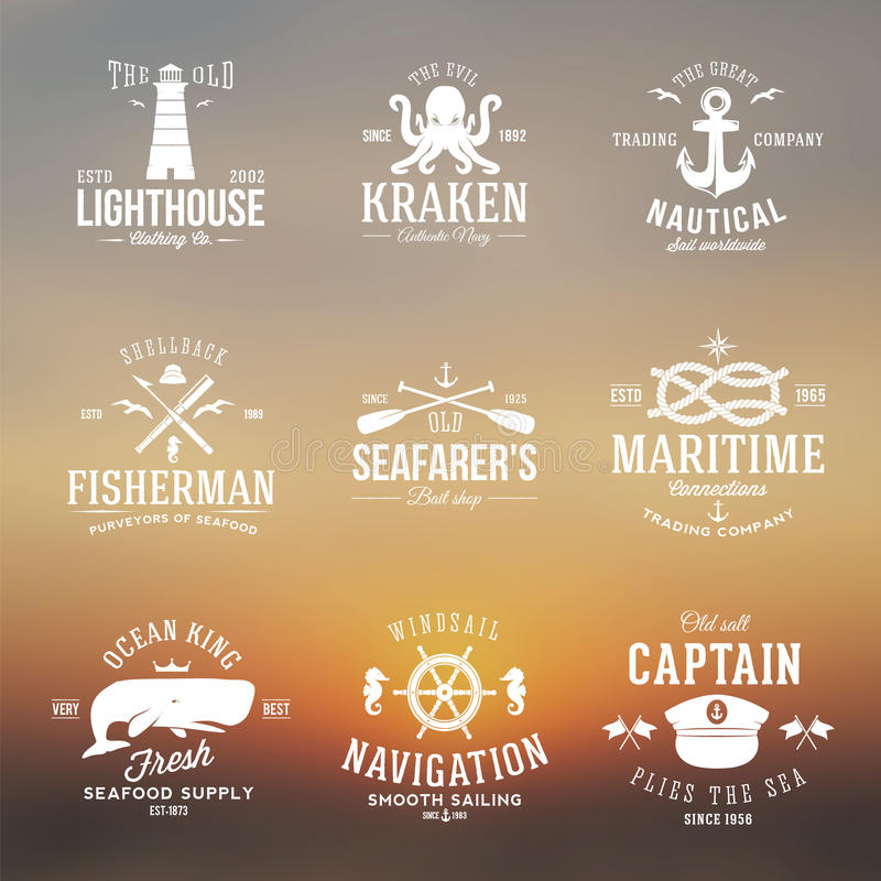 Set of Vintage Nautical Labels or Signs With Retro. Typography on Blured Background Anchors Steering Wheel Knots Seagulls and Wale royalty free illustration