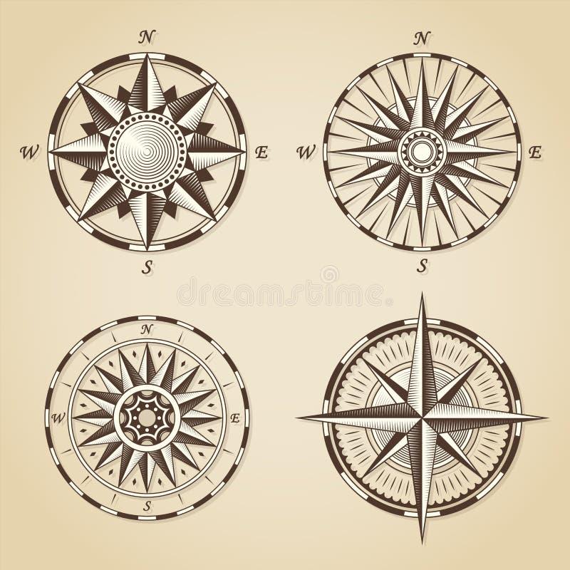 Set of vintage old antique nautical compass roses. Vector signs. Labels emblems vector illustration