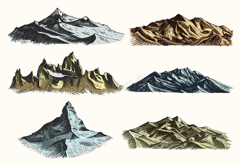 Set of vintage, old engraving with mountains peaks in hand drawh sketch style different versions and colors.  vector illustration