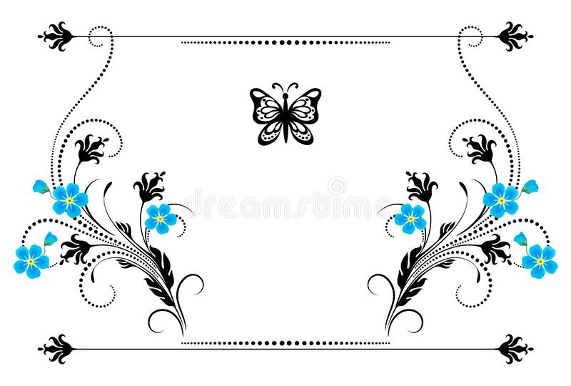 Set vintage ornament with forget me not flowers,  frame and decorative divider for greeting card vector illustration