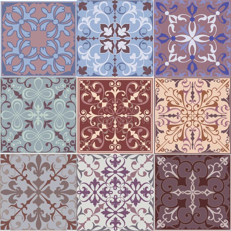 Set of Vintage Ornaments Seamless Patterns with Flower Designs in Damascus Style claret background. Vector illustration with an ornament stock illustration