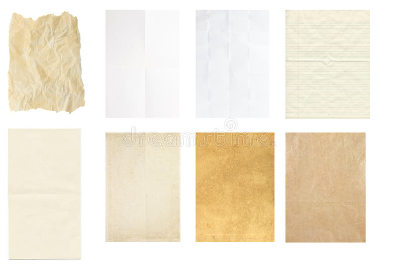 Set of vintage paper texture isolate, royalty free stock photography
