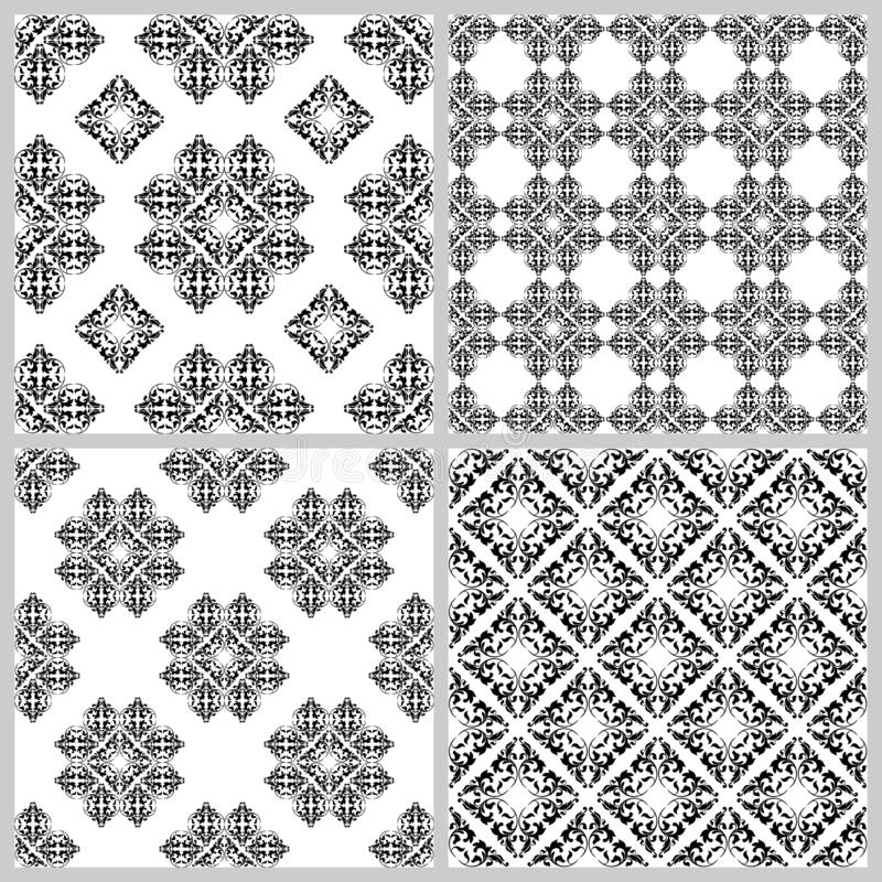 Set of vintage Classical seamless patterns with decoration tracery on a white background. Set of vintage patterns. Texture for print, wallpaper, home decor royalty free illustration