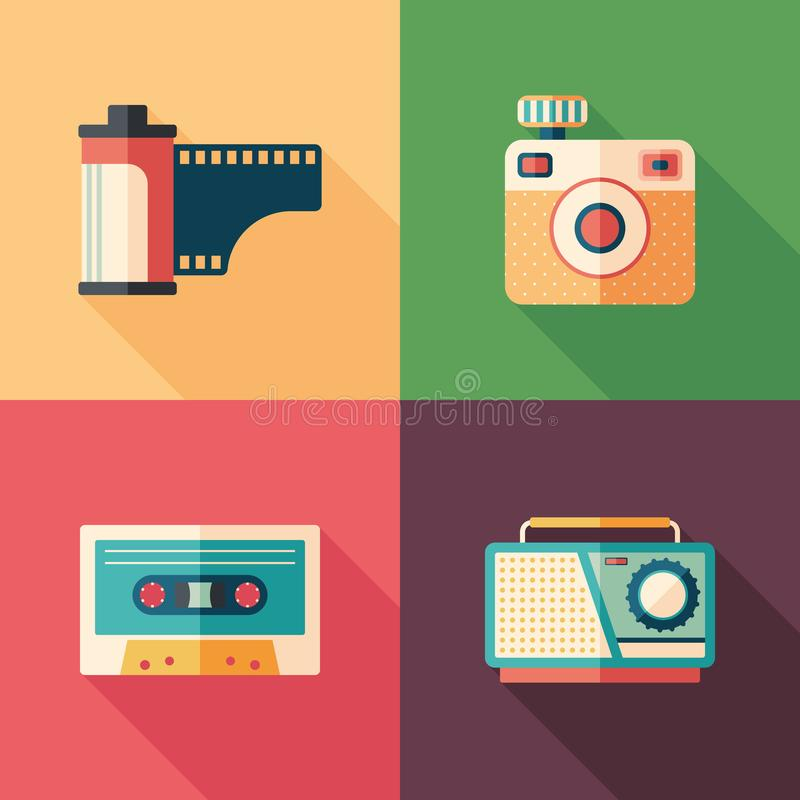 Set of vintage photo and audio flat icons with long shadows. vector illustration