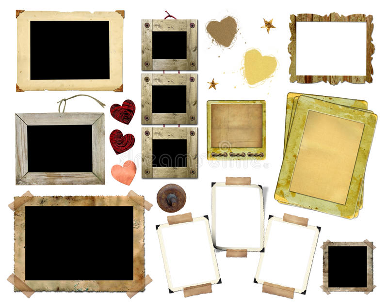A set of vintage photo frames royalty free stock photography
