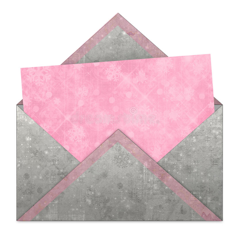Set of vintage pink paper for congratulation. Or invitation and envelope with snowflakes and stars stock illustration
