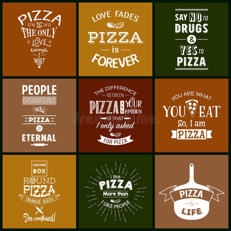 Download Set Of Vintage Pizza Typographic Quotes Stock Vector