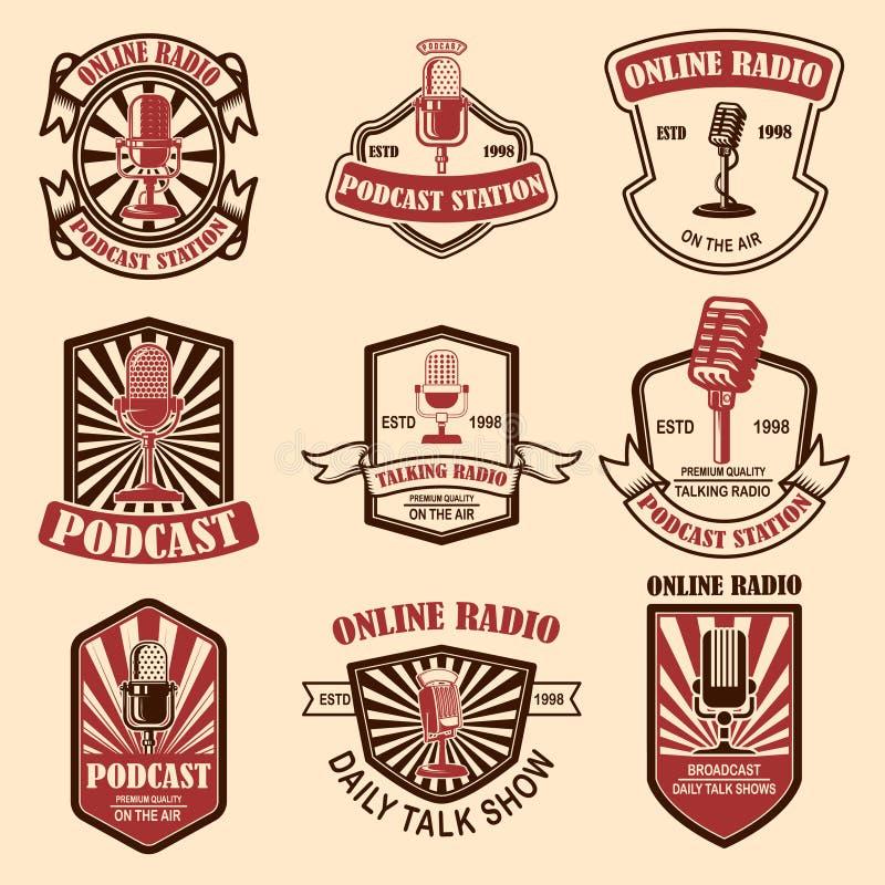 Set of vintage podcast, radio emblems with microphone. Design element for logo, label, sign, badge, poster royalty free illustration