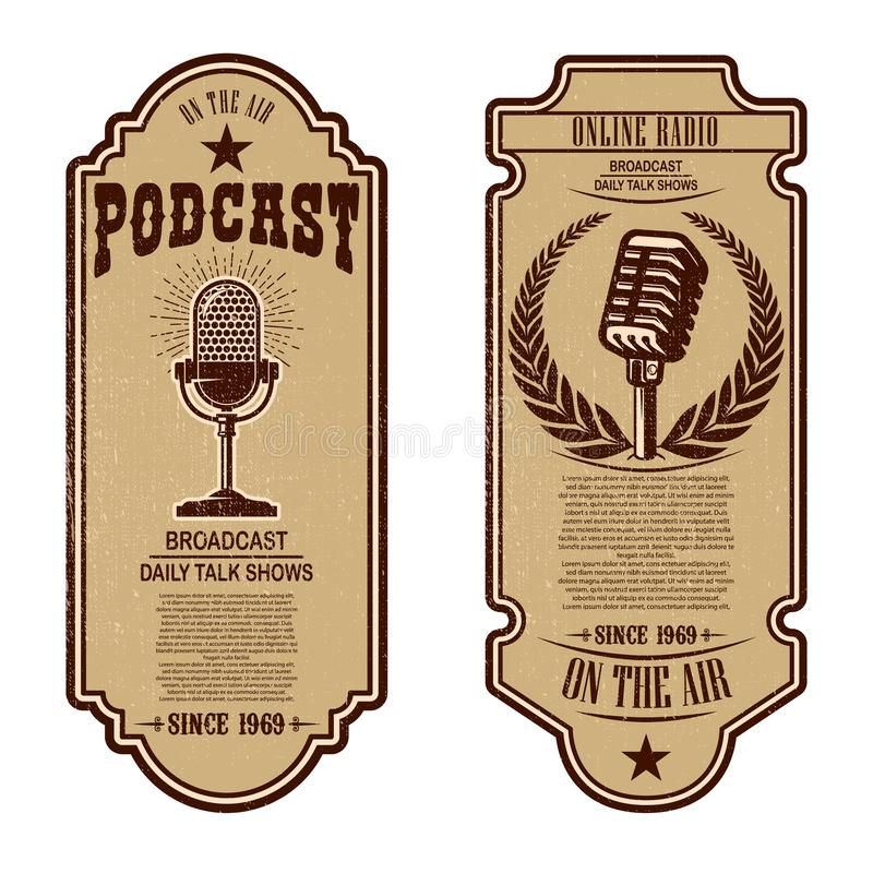 Set of vintage podcast, radio flyers with microphone. Design element for logo, label, sign, badge, poster vector illustration