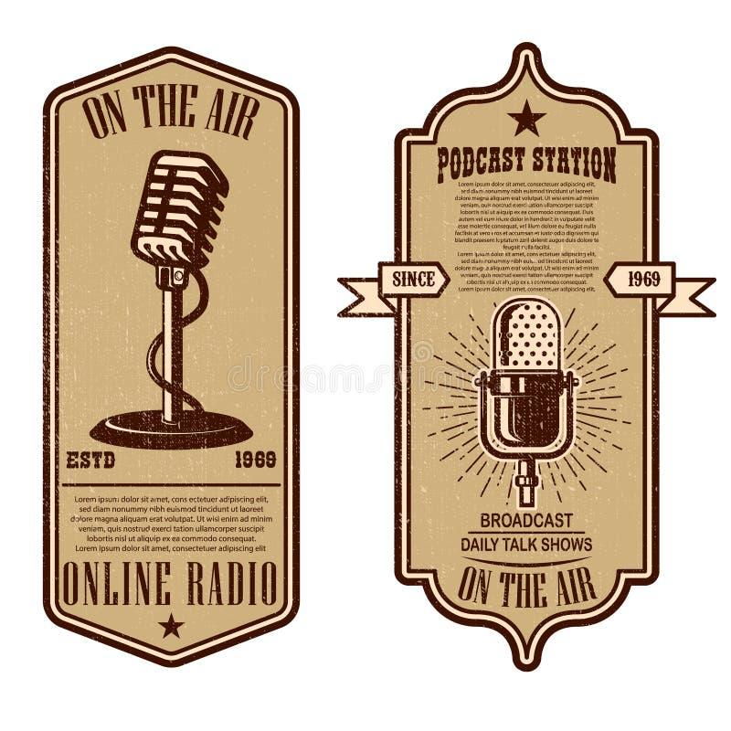 Set of vintage podcast, radio flyers with microphone. Design element for logo, label, sign, badge, poster royalty free illustration