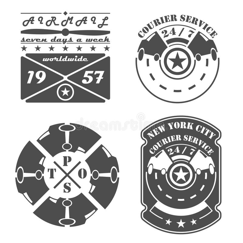 Set of vintage postal and courier services retro emblems, labels, badges and design elements. Set of vintage postal and courier services retro emblems, signs vector illustration