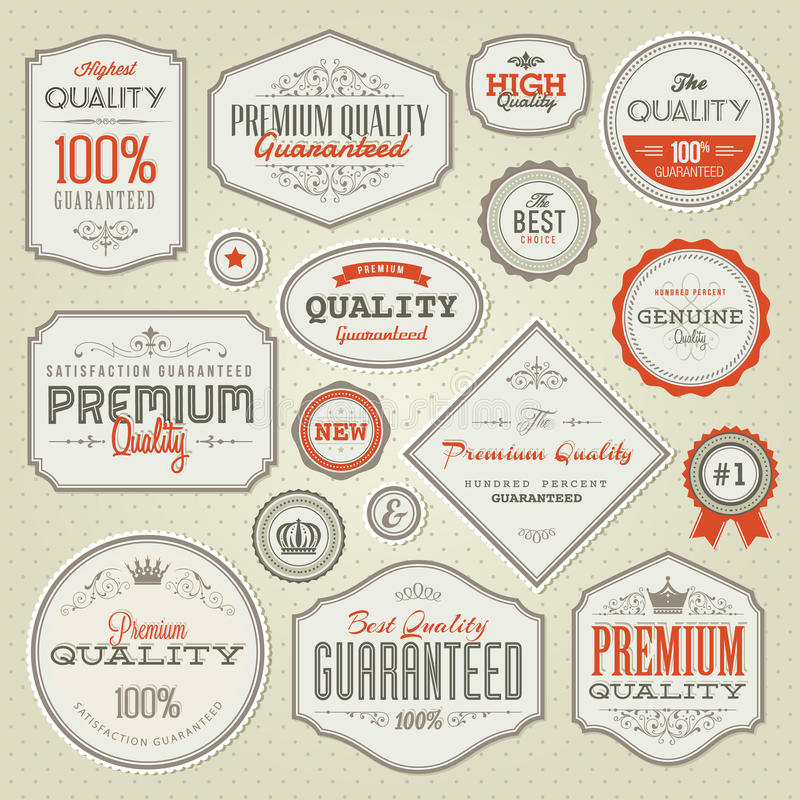 Set Of Vintage Premium Quality Labels And Badges Royalty Free Stock Photo