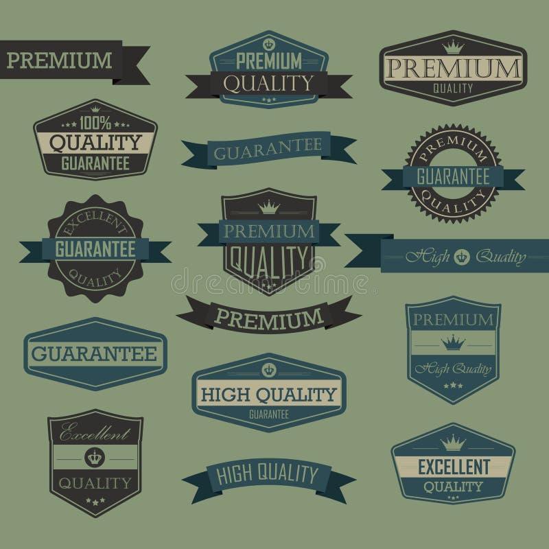 Set of vintage quality seal label vector illustration