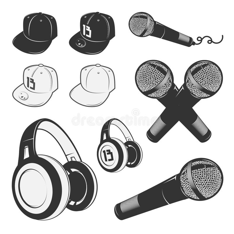 Set of vintage rap elements for emblems, labels and design elements. Monochrome style. Set of vintage rap emblems, labels and design elements. Monochrome style stock illustration