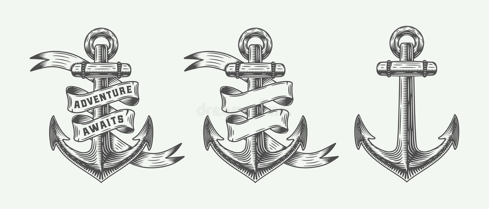 Set of vintage retro anchors in retro style with adventures typography. stock illustration