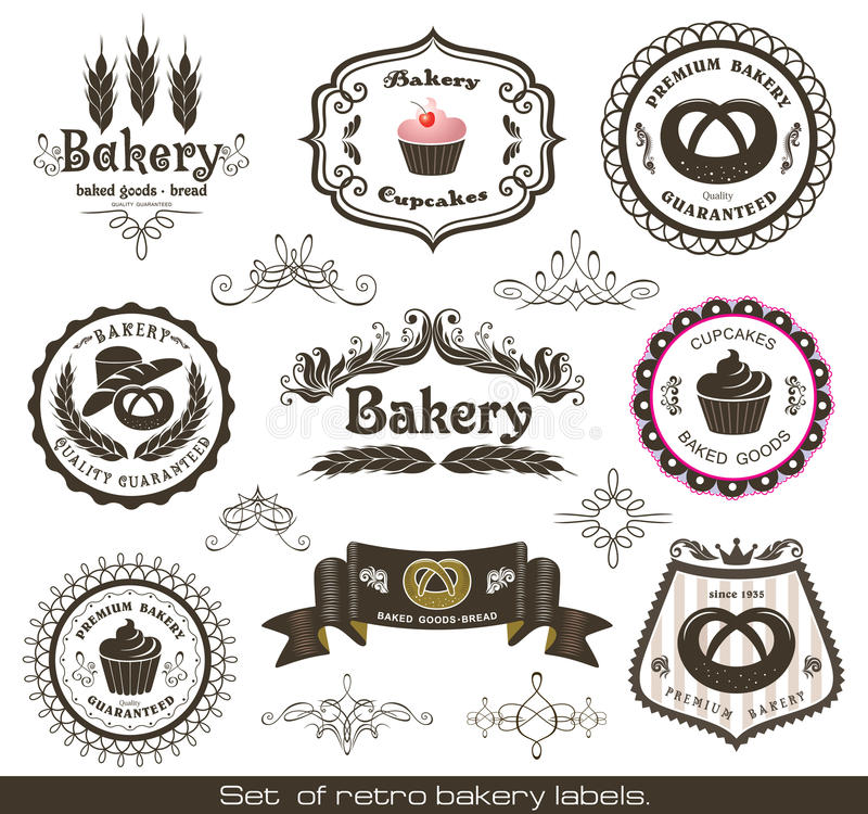 Set of vintage retro bakery labels stock illustration