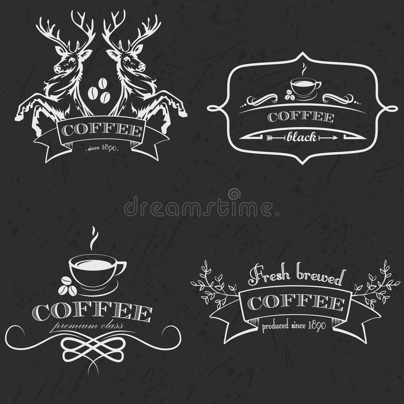 Set of vintage retro coffee logo badges and labels. Vector Illustration stock illustration