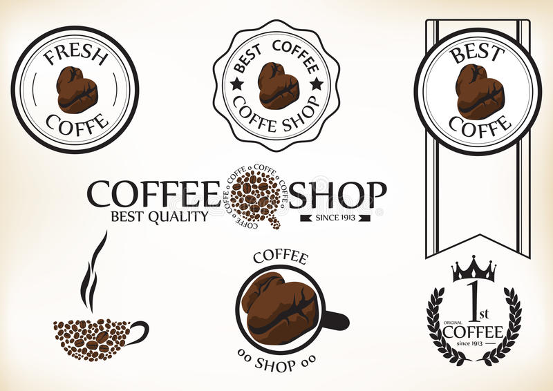 Set of vintage retro coffee shop badges and labels royalty free illustration
