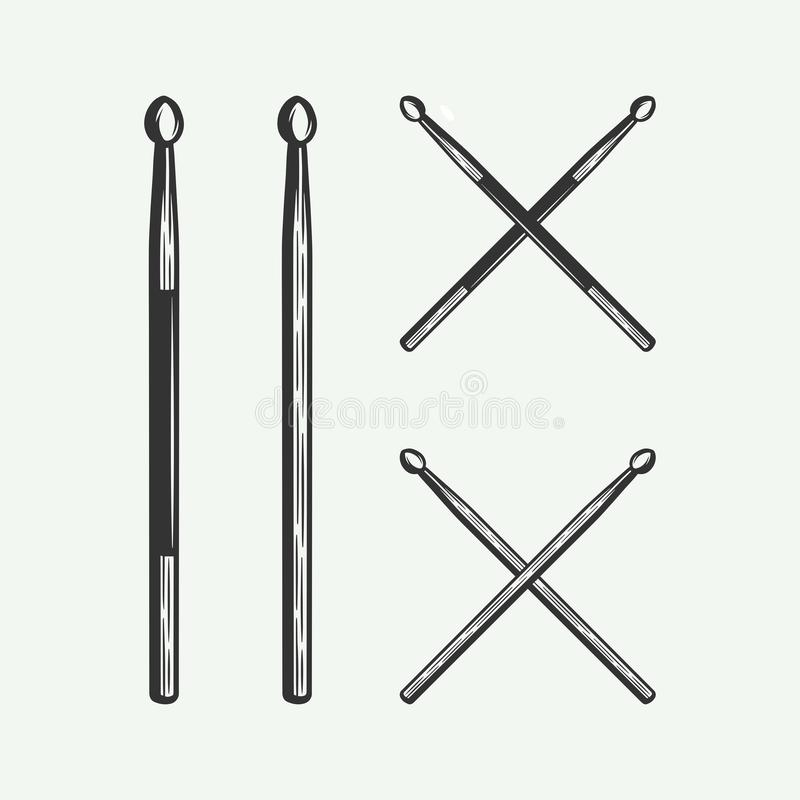 Set of vintage retro drum wooden sticks in line woodcut style. Cross sticks black and white. stock illustration