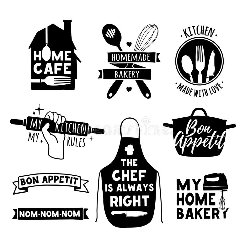Set of vintage retro handmade badges, labels and logo elements, retro symbols for bakery shop, cooking club, cafe, food royalty free illustration