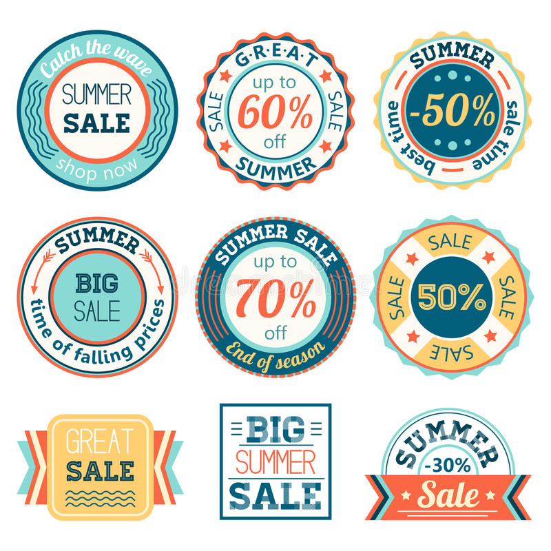 Set of vintage retro summer sale logos labels, posters, stickers, badges. Vector illustration. royalty free illustration