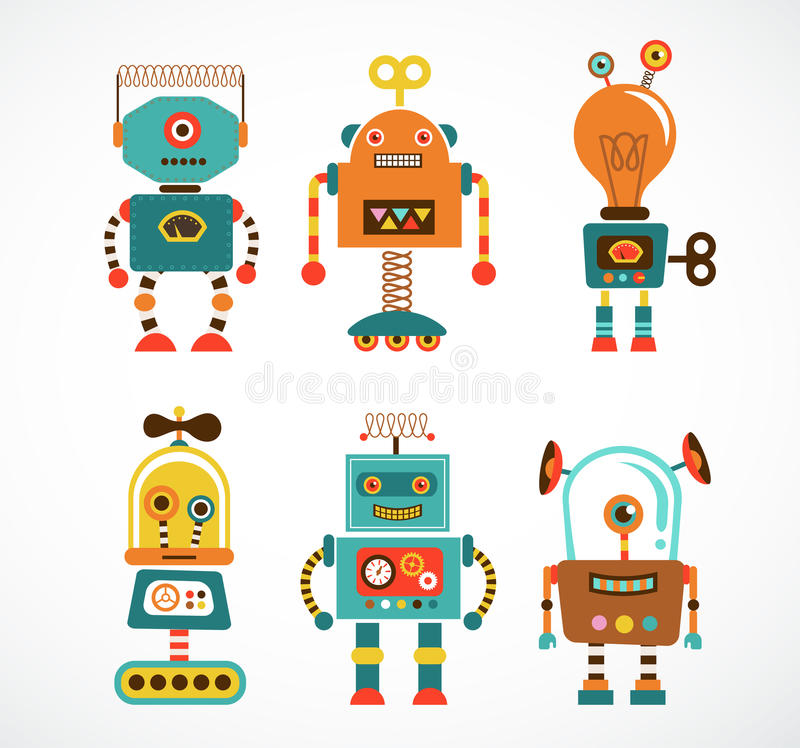 Download Set Of Vintage Robot Icons Royalty Free Stock Image - Image: 33525026