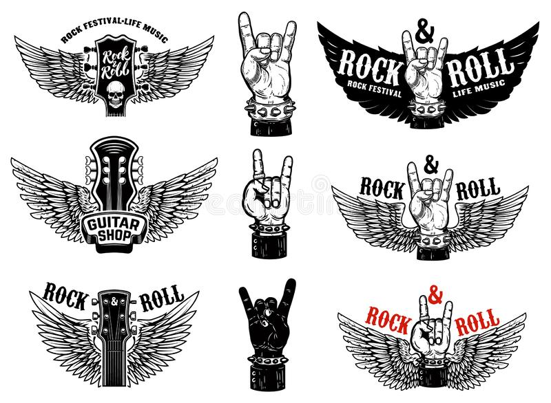 Set of vintage rock music fest emblems. Hand with Rock and roll sign with wings. Design element for logo, label, sign, poster, t s. Hirt. Vector illustration stock illustration