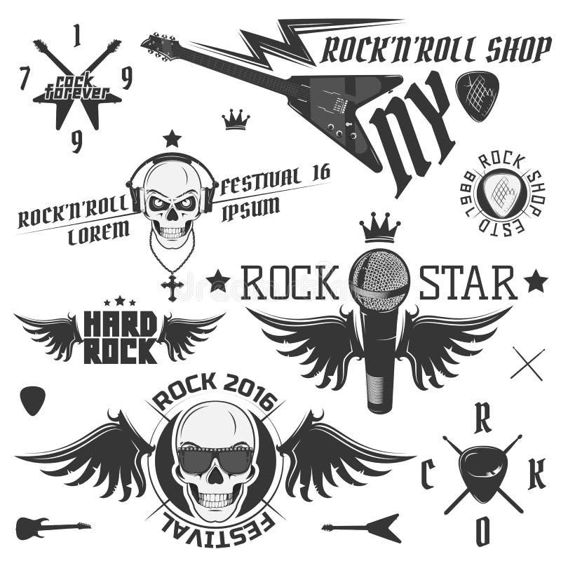 Set of vintage rock and roll emblems I love rock. Set of vintage rock and roll emblems vector illustration