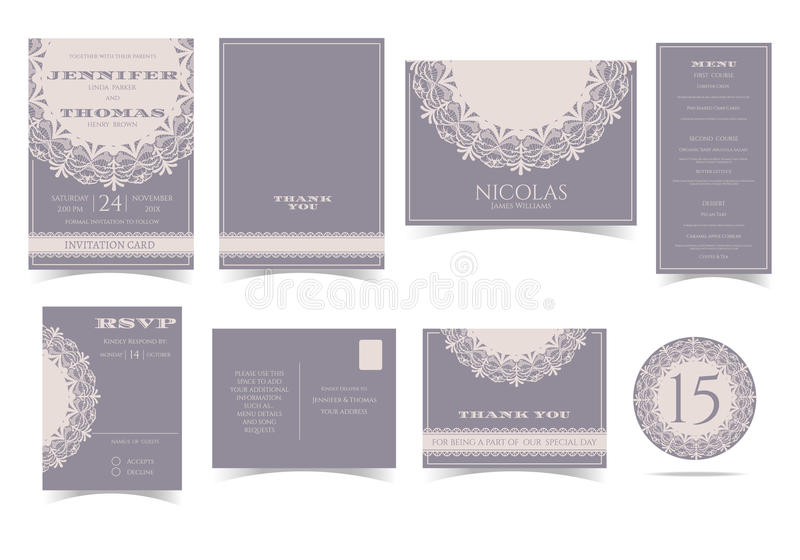 Set of Vintage Round Lace Wedding Invitation Card. vector illustration