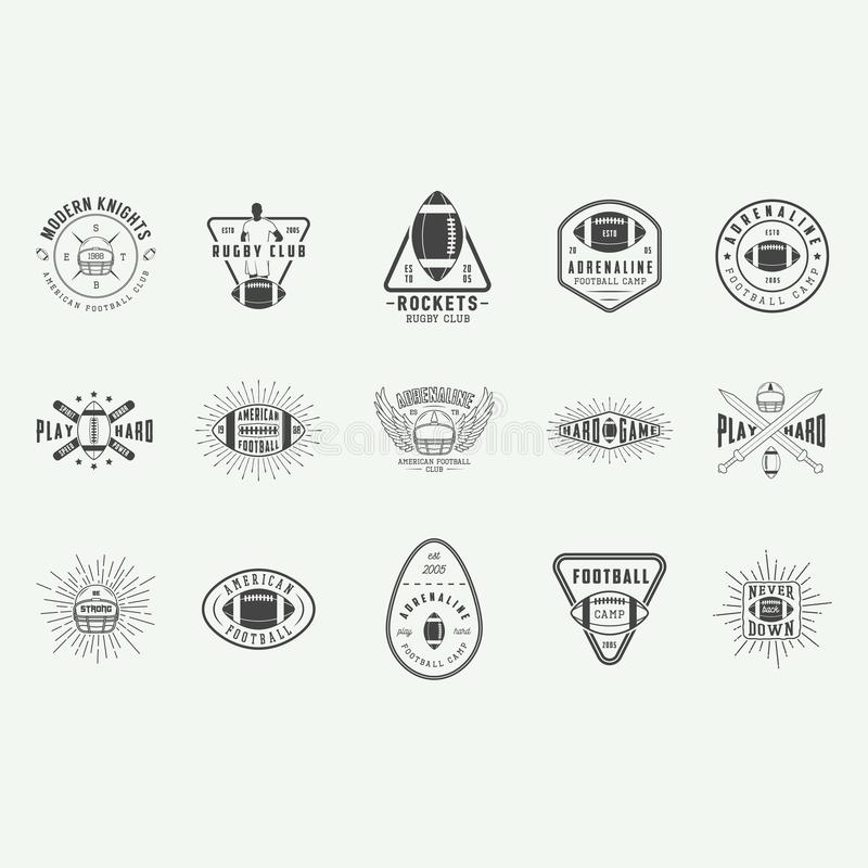 Set of vintage rugby and american football labels, emblems, badges and logo. royalty free illustration