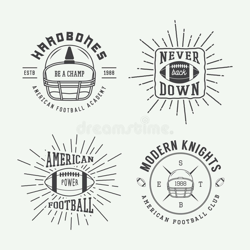 Set of vintage rugby and american football labels, emblems and l vector illustration