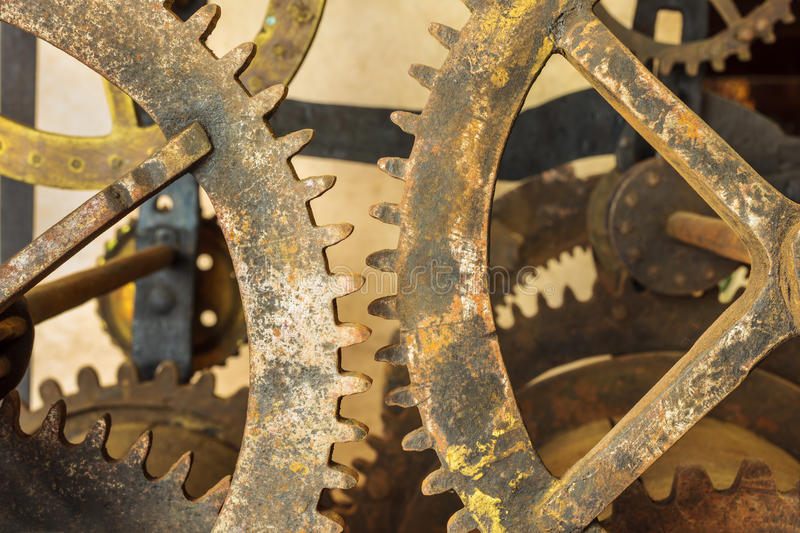 Set of vintage rusted gearwheels. Of an old church clock royalty free stock photos