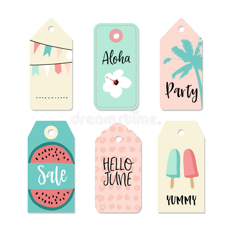 Set of vintage sale and gift tags and labels. Summer tropical design with palm, watermelon, and popsicles. Isolated vector illustration
