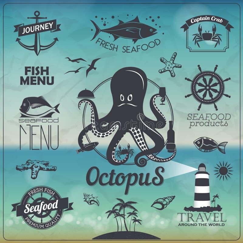 Set of Vintage seafood fish typography design with labels, icons. Set of Vintage seafood fish typography design vector illustration