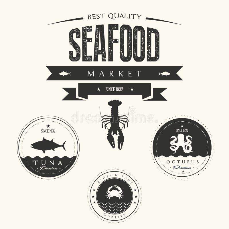 Set of vintage seafood labels, badges and design vector illustration