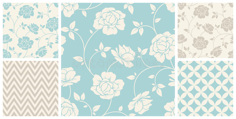 Set of vintage seamless floral and geometric patterns. Vector illustration. vector illustration