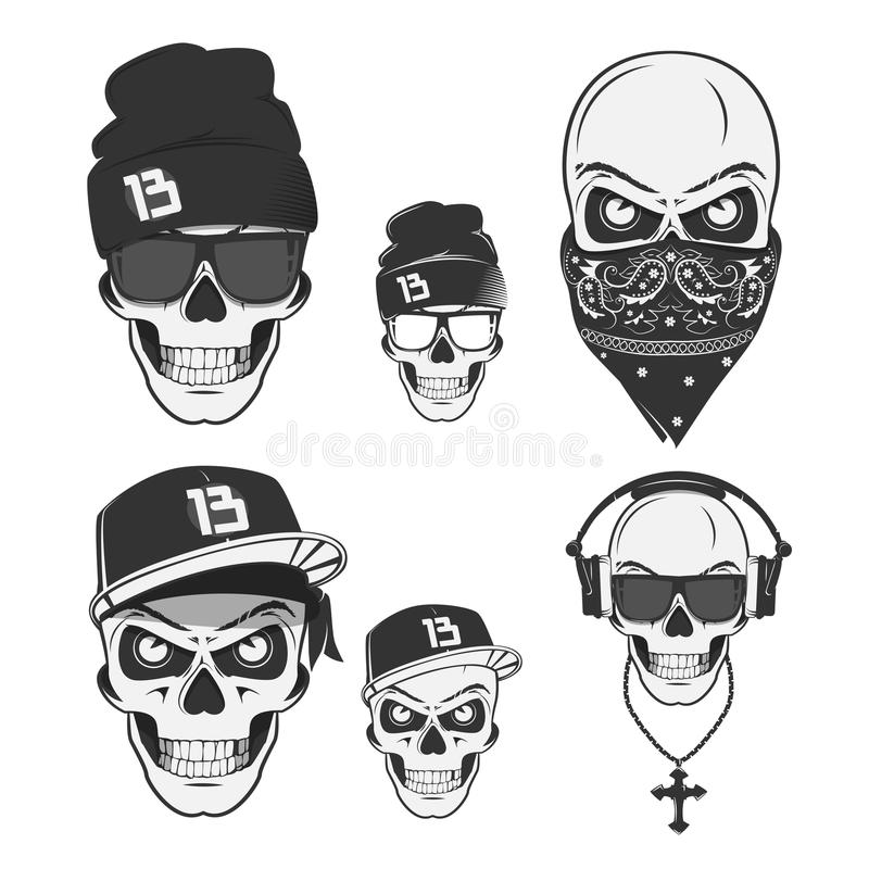 Set of vintage skull rap elements emblems, labels, badges, logos and design elements. Monochrome style. Set of vintage skull rap, emblems, labels, badges, logos vector illustration
