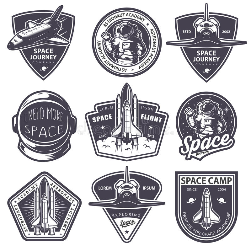 Set of vintage space and astronaut badges vector illustration
