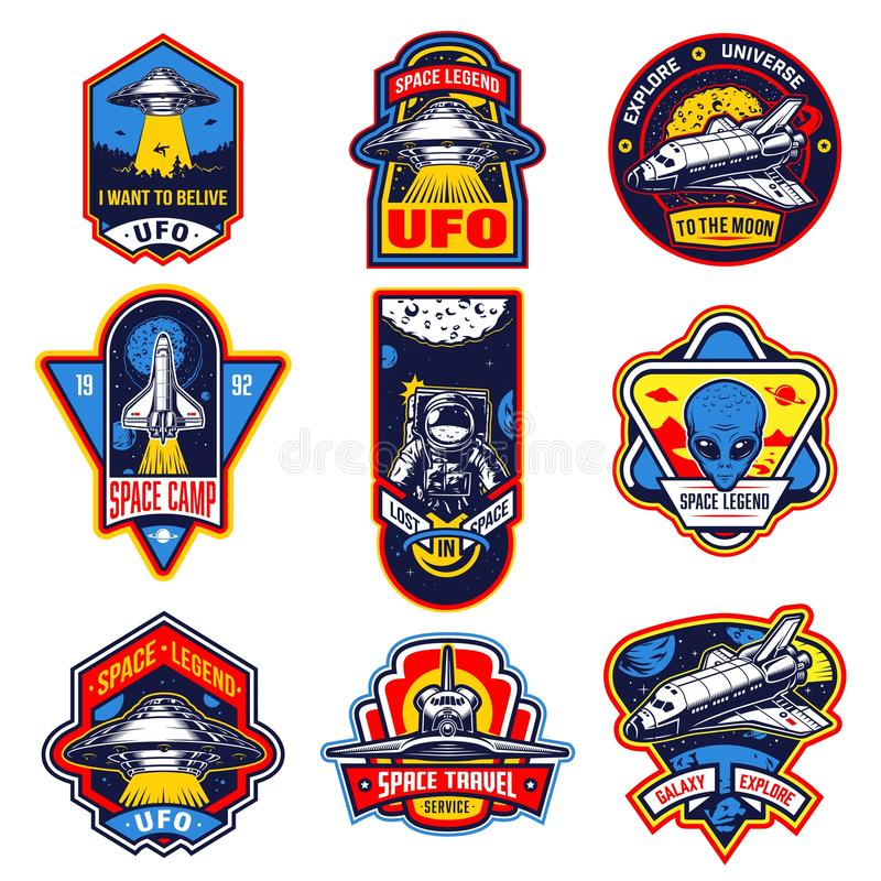 Set of vintage space and astronaut badges stock illustration