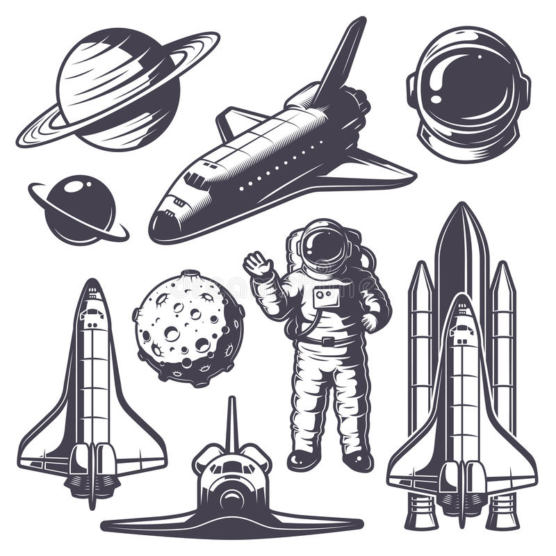 Set of vintage space elements stock illustration