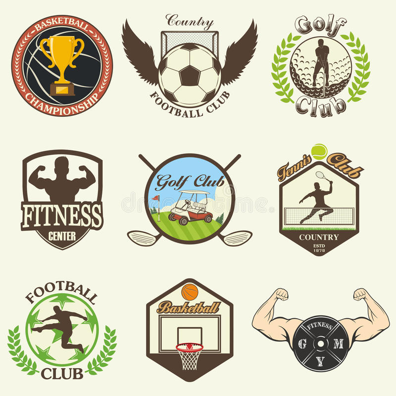 Set of vintage sports emblems royalty free illustration