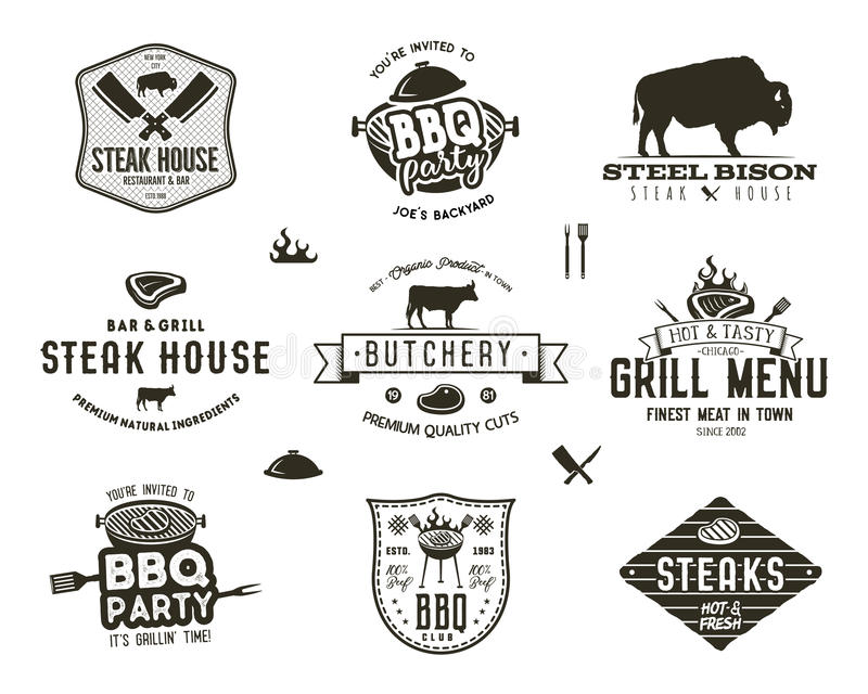 Set of vintage steak house, bbq party, barbecue grill badges, labels. Retro typography hand drawn style. Butcher logo stock illustration