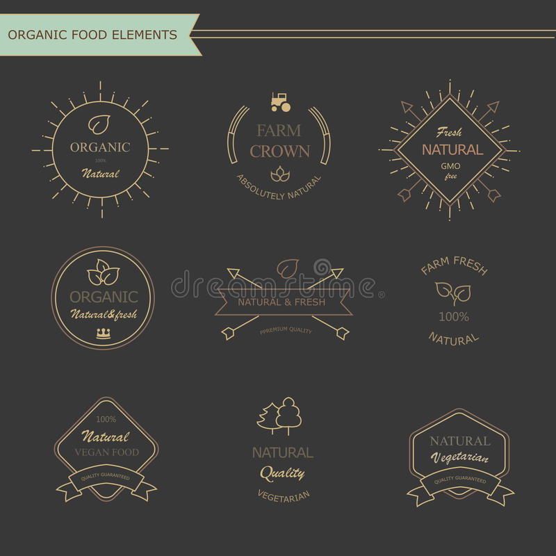 Set of vintage style elements for labels and stock illustration